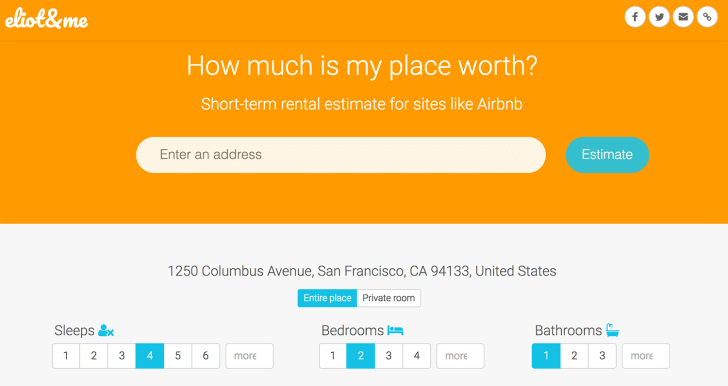 """An orange-and-gray homepage asks """"How much is my place worth?"""""""