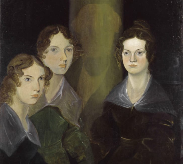 A painting of three women with dark, curly hair sitting in a semi-circle and wearing dark, old-fashioned dresses.