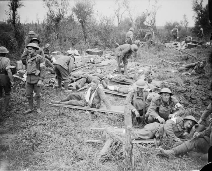 This is an image of wounded British soldiers from the Battle of Pilckem Ridge.