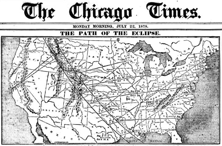 Chicago Times Map depicting the path of the 1878 total solar eclipse.