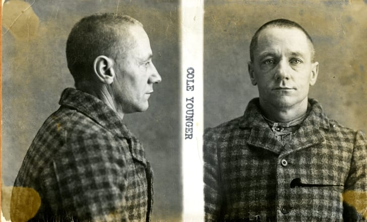 A mug shot of infamous bank robber and outlaw Cole Younger