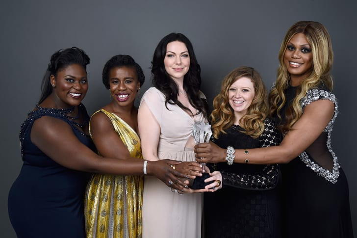 Actresses Danielle Brooks, Uzo Aduba, Laura Prepon, Natasha Lyonne and Laverne Cox of 'Orange is the New Black,' at the Critics' Choice Television Awards