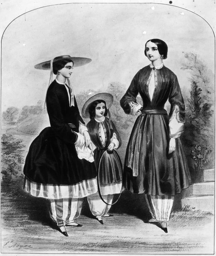A black and white image of young women wearing bloomers