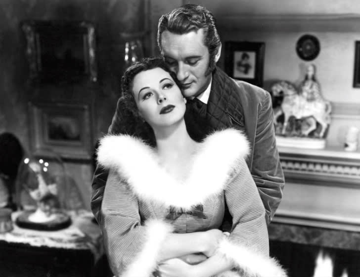 Black and white image of Hedy Lamarr and George Sanders in the film The Strange Woman.
