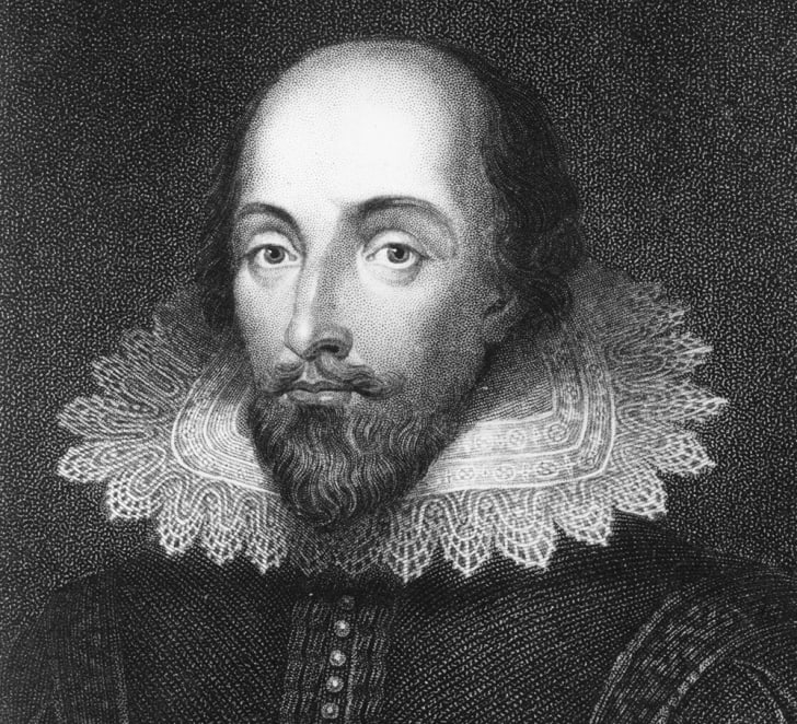 A black and white portrait of Shakespeare