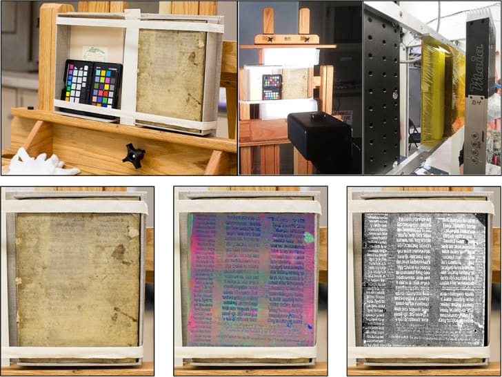 Views of the text being imaged and the results of each type of imaging