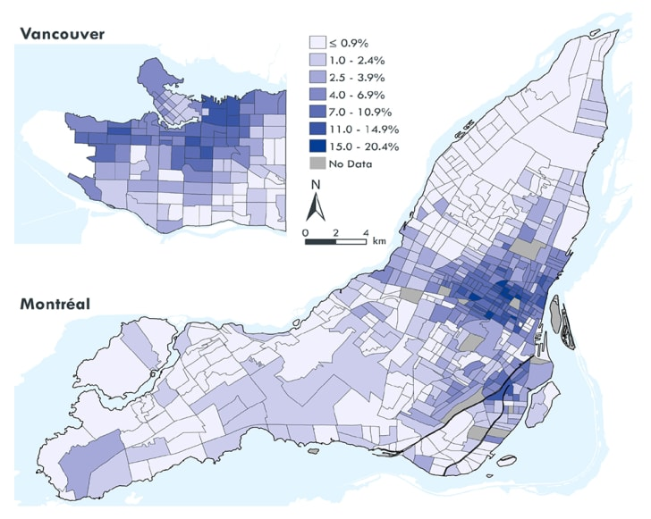 Shaded maps of Montreal and Vancouver show the percentages of commuters bike.