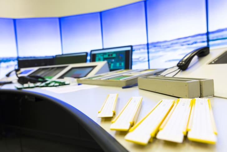 Inside an air traffic control room