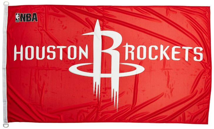 A banner featuring the Houston Rockets logo