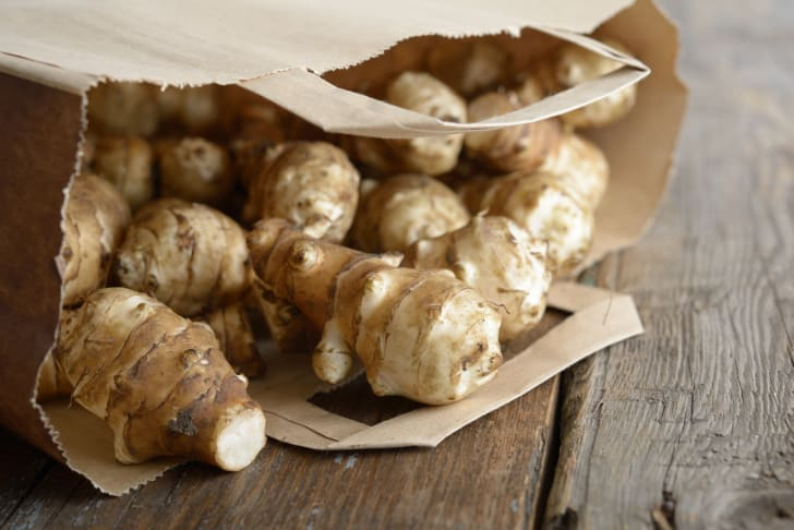 A bag of Jerusalem artichokes