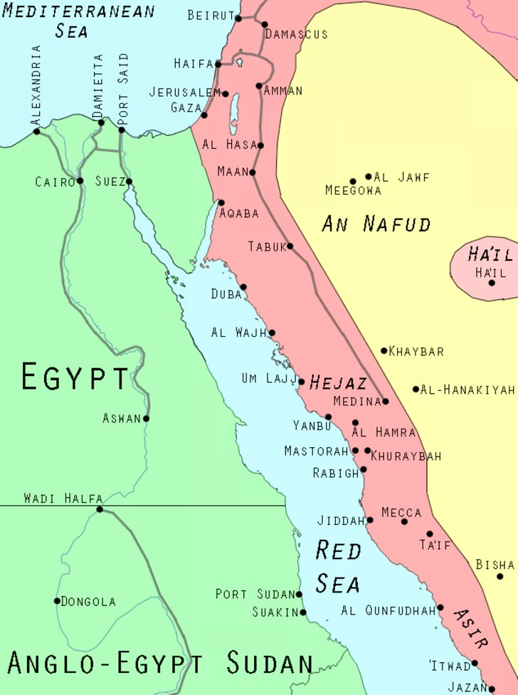 Arab Revolt Map