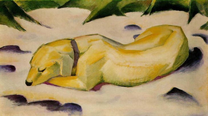 This is an image of Dog Lying in the Snow by Franz Marc