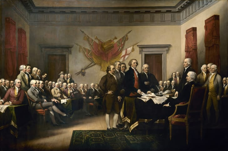 "John Trumball's 1819 painting ""Declaration of Independence."""