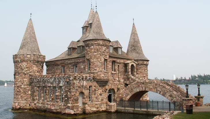 The exterior of Boldt castle on the water