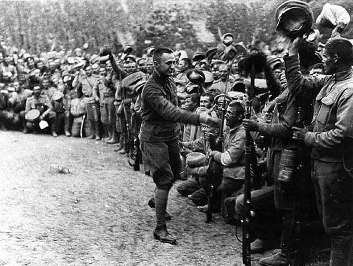 This is an image of the Russian Army greeting Alexander Kerensky.
