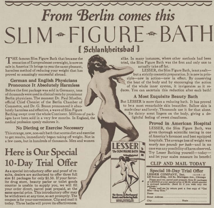 An ad for a weight loss bath
