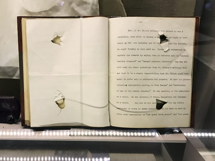 The pages of the speech that saved Roosevelt's life were later bound into a book.