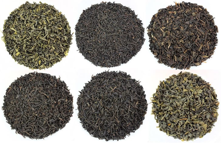 Six piles of loose-leaf tea.