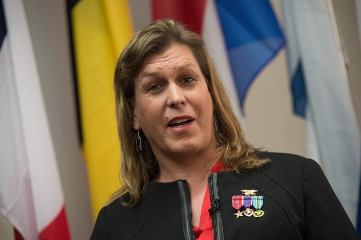 Kristen Beck speaks at a conference on transgender military service