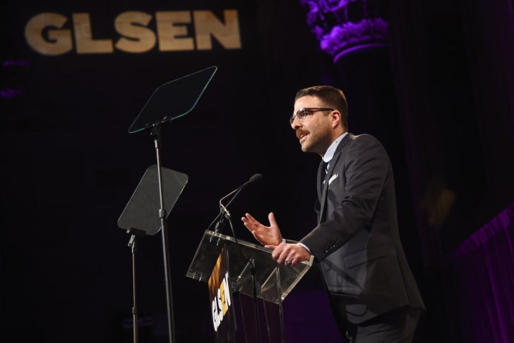 Zachary Quinto speaks onstage at the 2017 GLSEN Respect Awards