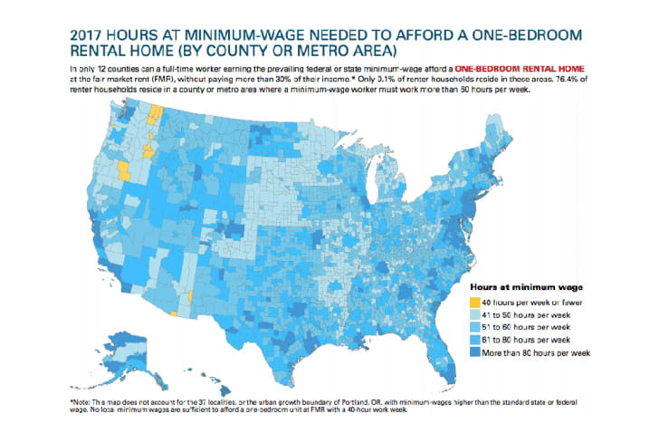A county-by-county analysis of the hourly wage needed to afford a modest home in the U.S.