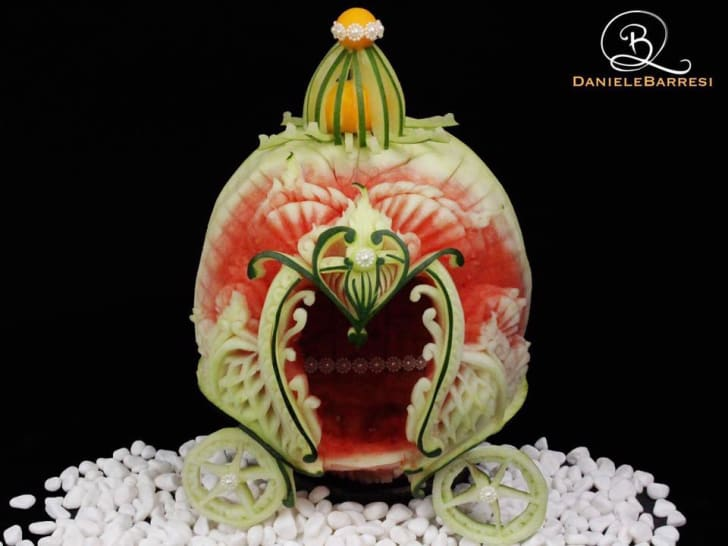 A food carving by Italian carving designer Daniele Barresi