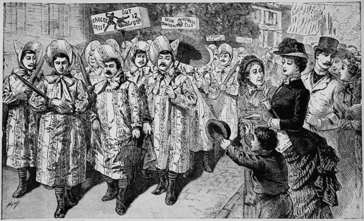 A black-and-white engraving of a satirical parade of the Belva Lockwood Club in New Jersey