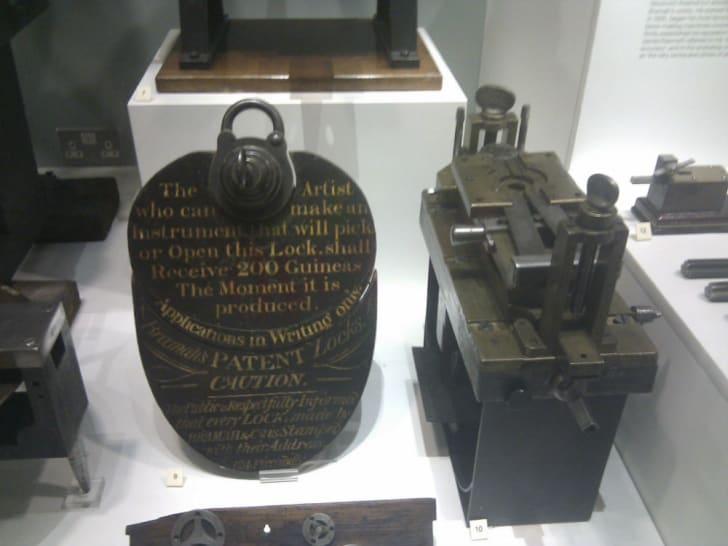 The famous Bramah lock sits on display