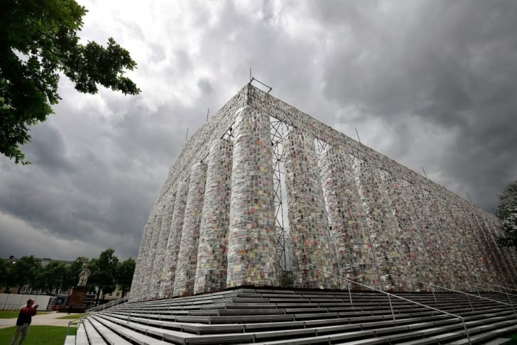 """Marta Minujin's """"The Parthenon of Books"""" on display in Kassel, Germany"""