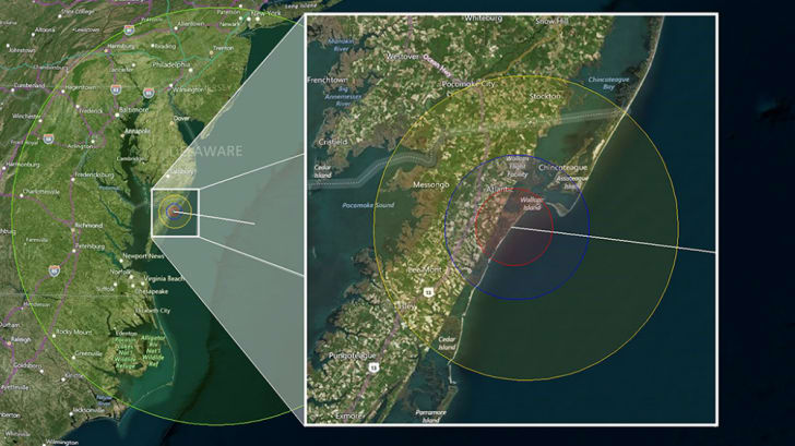 Map predicting visibility of vapor tracers during a NASA rocket launch.