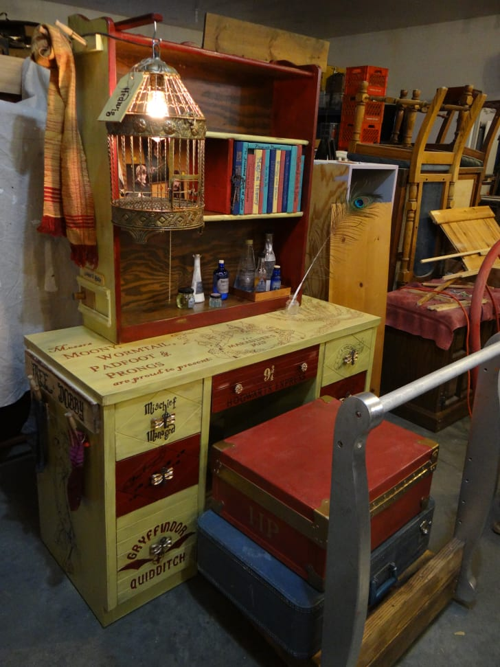 "A ""Harry Potter""-themed desk designed by Anne Rozkydal and her partner, Larry"