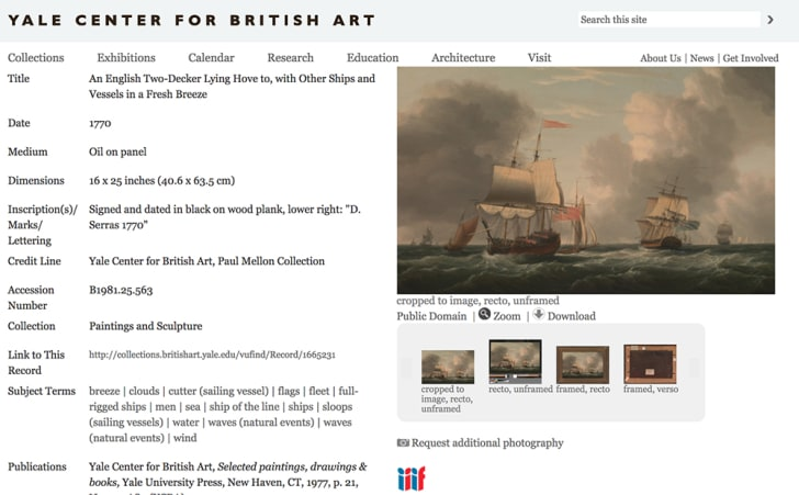 Screenshot of a listing in the Yale Center for British Art's online collection
