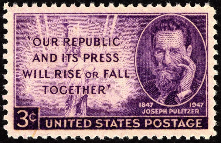 A stamp featuring Joseph Pulitzer