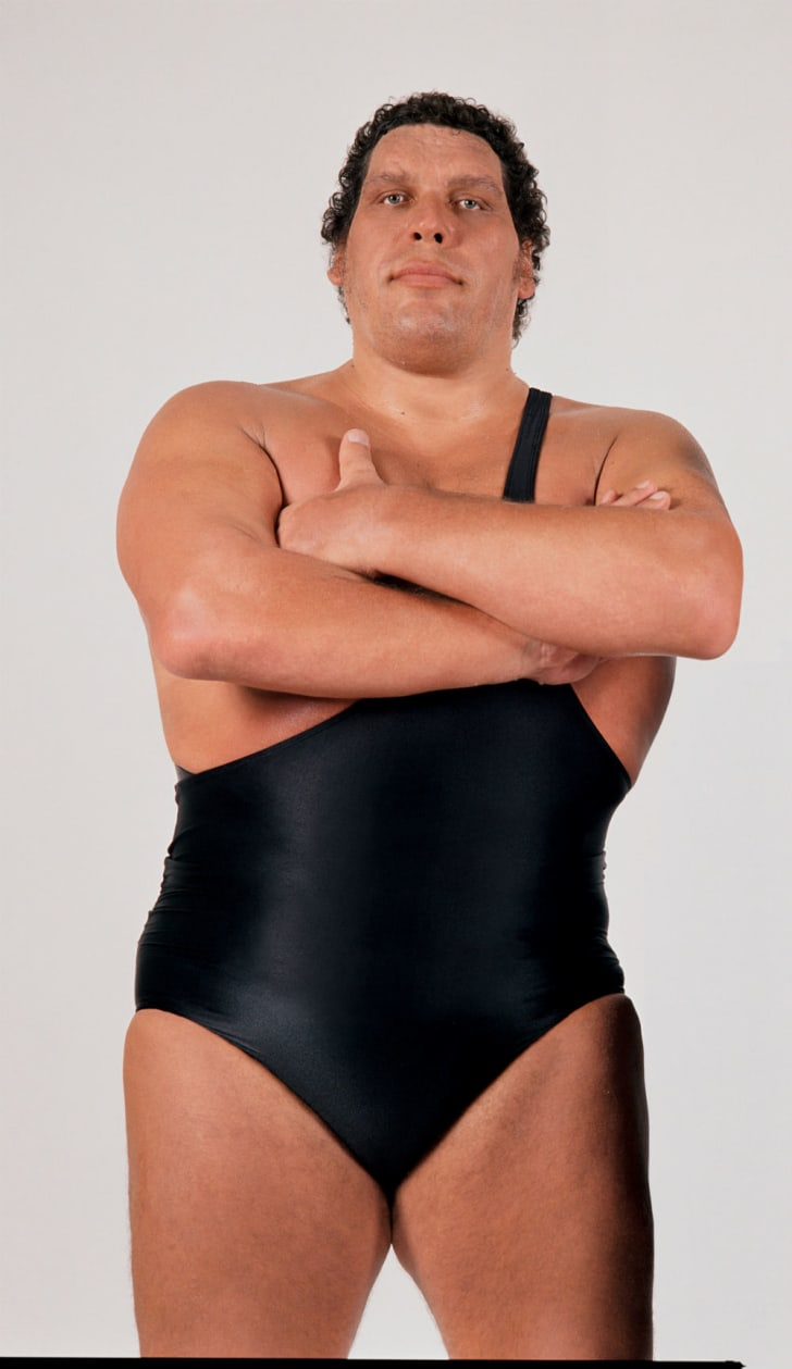 Andre the Giant poses for a publicity photo in his singlet