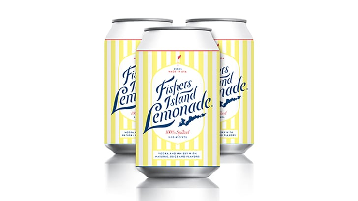 Three cans with white and yellow stripes