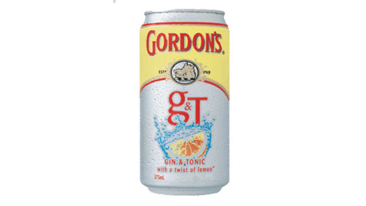 A can of Gordon's gin and tonic on white