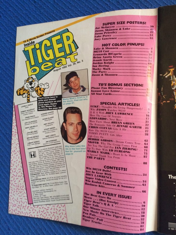 The table of contents for the August 1992 issue of Tiger Beat