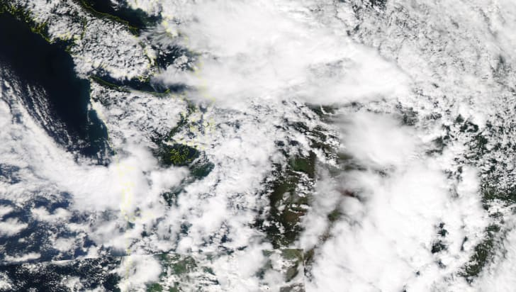 Rain clouds over Pacific Northwest