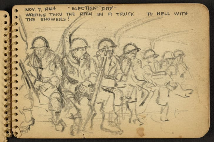 Sketch of World War II soldiers.
