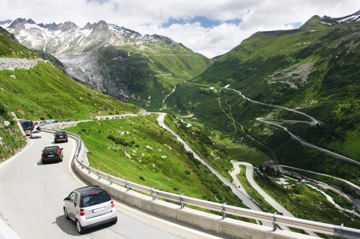 Cars driving on the Furka Pass in Switzerland