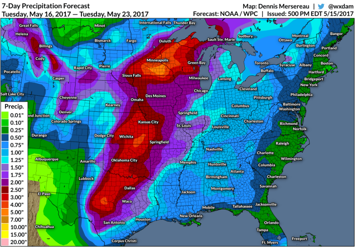 The rainfall forecast through May 23, 2017