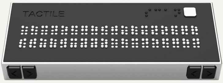 Handheld device translates text into braille.