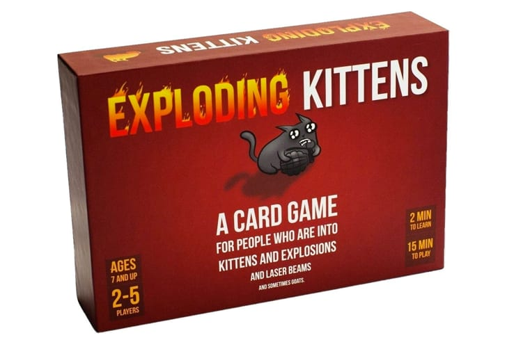'Exploding Kittens' card game in its box