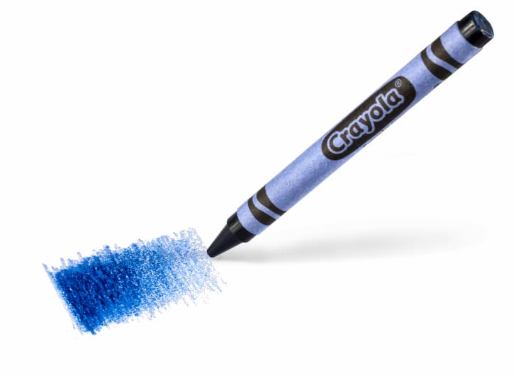A blue Crayola crayon and a swatch of the color against a white background