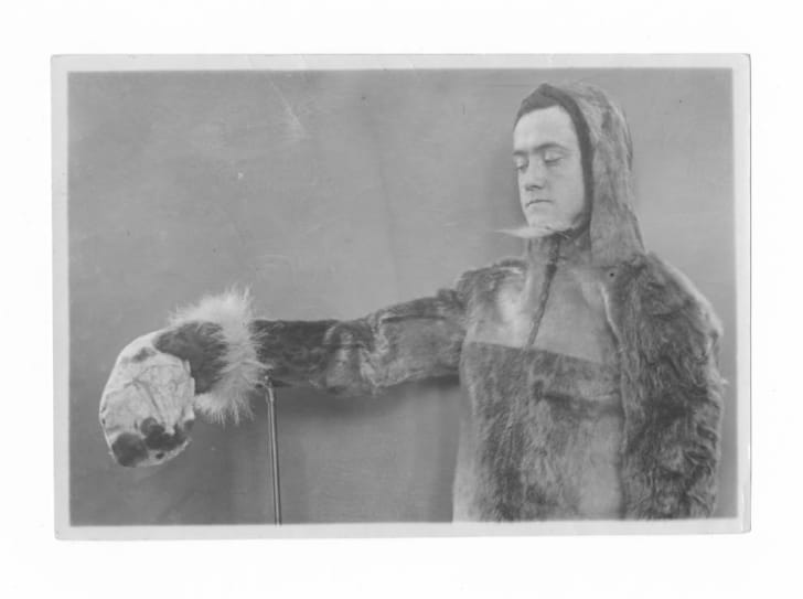Donald MacMillan in seal skin coat on the Crocker Land Expedition.