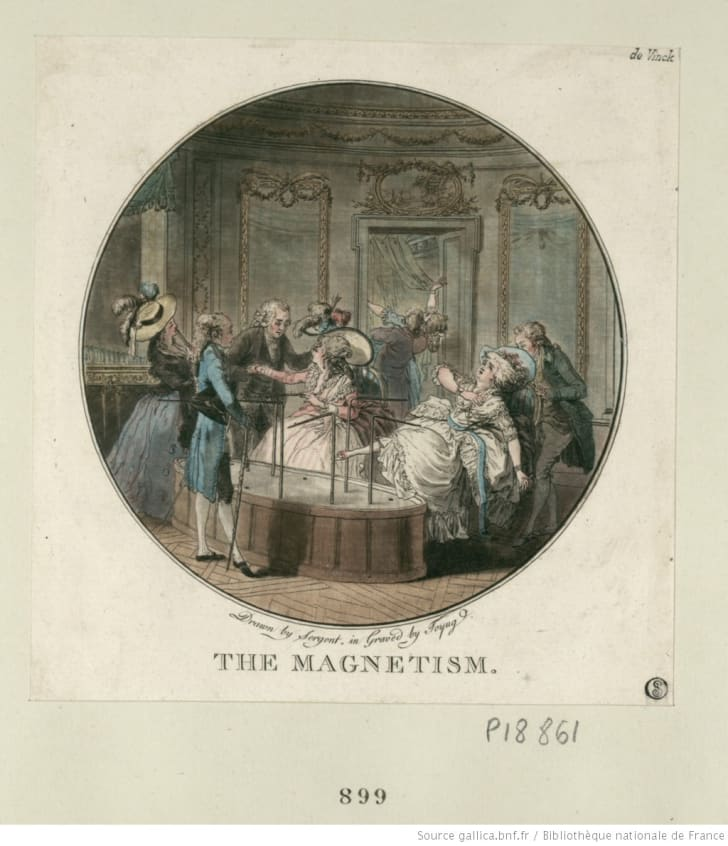 Franz Anton Mesmer and patients using a baquet.