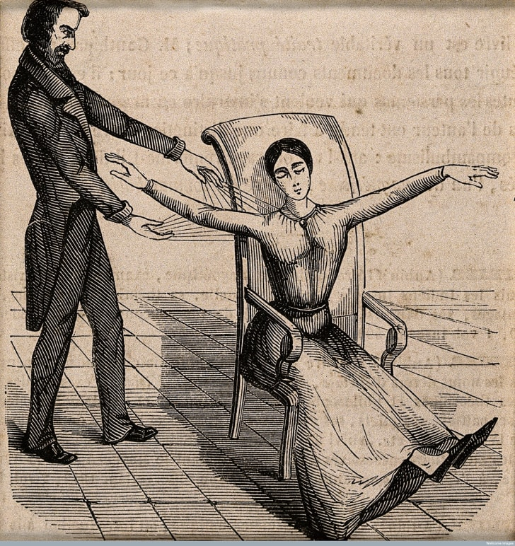 Franz Anton Mesmer mesmerizing a patient.