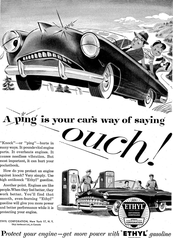 A 1953 advertisement in Life magazine for Ethyl leaded gasoline.