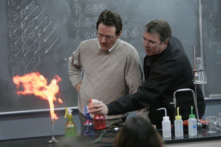 Vince Gilligan and Bryan Cranston on the set of 'Breaking Bad'