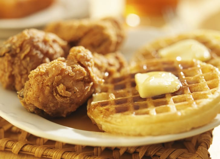 Close-up photo of fried chicken and waffles